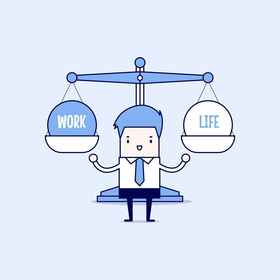 uomo d'affari equilibrio tra lavoro e vita. vettore di stile di linea sottile personaggio dei cartoni animati.