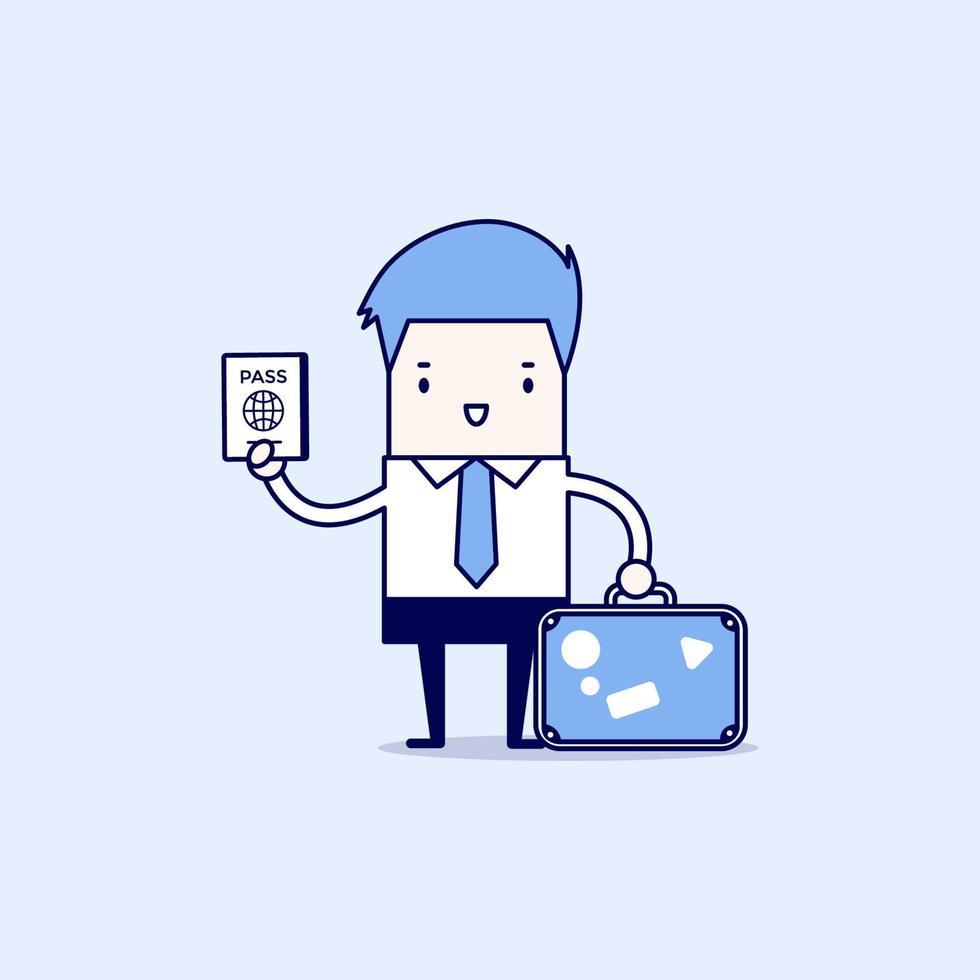 uomo d'affari con una valigia e passaporto. vettore di stile di linea sottile personaggio dei cartoni animati.
