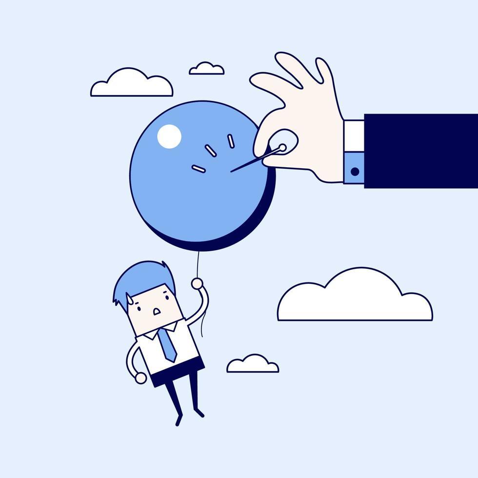 mano dell'uomo d'affari spingendo l'ago per far scoppiare il palloncino. vettore di stile di linea sottile personaggio dei cartoni animati.