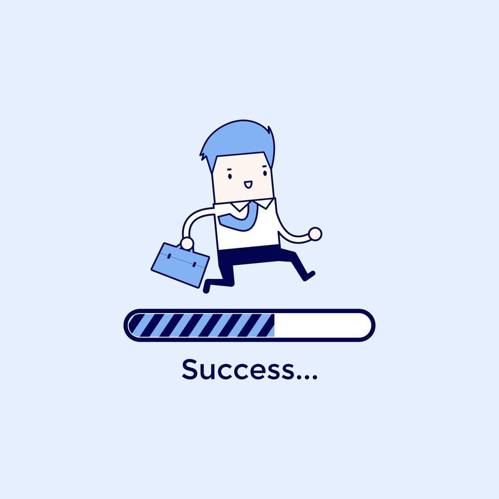 uomo d'affari in esecuzione su una barra di caricamento di avanzamento, concetto di successo. vettore di stile di linea sottile personaggio dei cartoni animati.