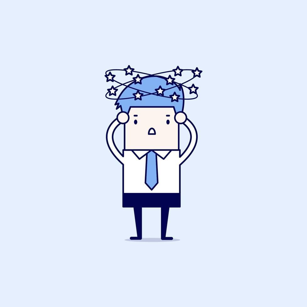 uomo d'affari con le stelle che girano intorno alla sua testa. vettore di stile di linea sottile personaggio dei cartoni animati.