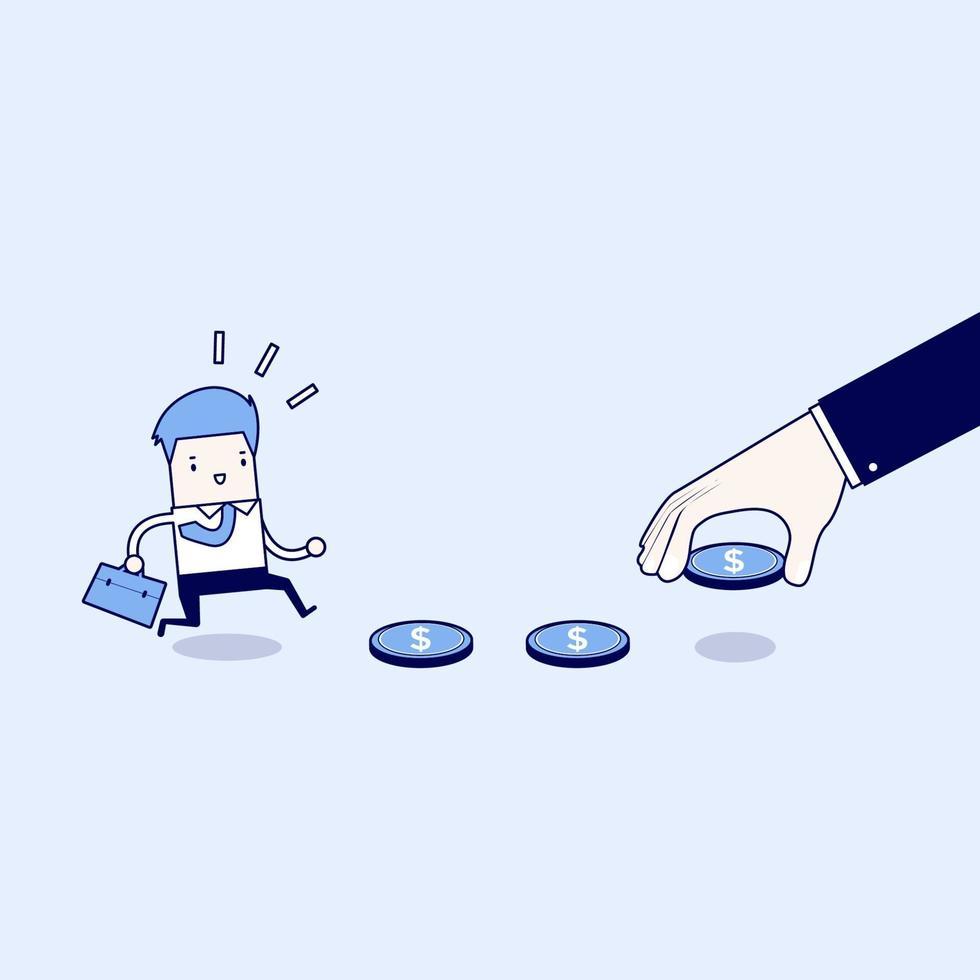 affari come esca, trappola finanziaria. vettore di stile di linea sottile personaggio dei cartoni animati.