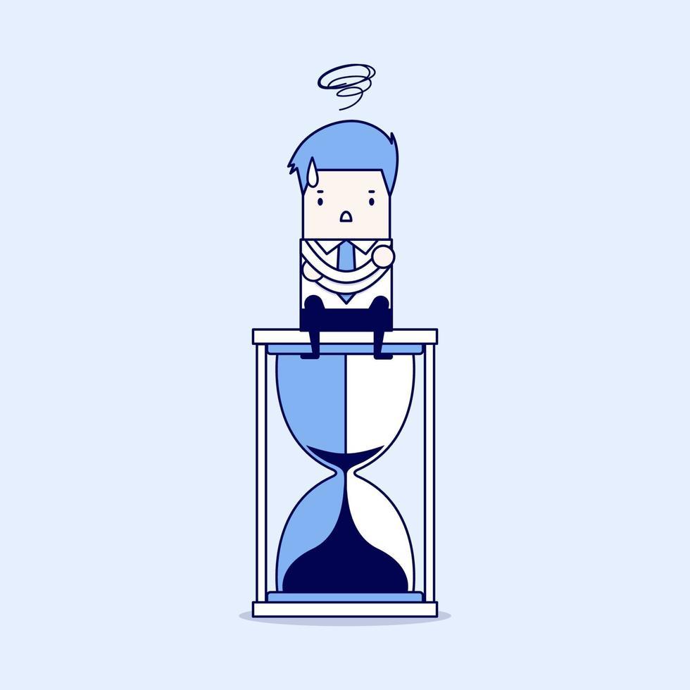 uomo d'affari seduto sulla clessidra. concetto di scadenza. vettore di stile di linea sottile personaggio dei cartoni animati.