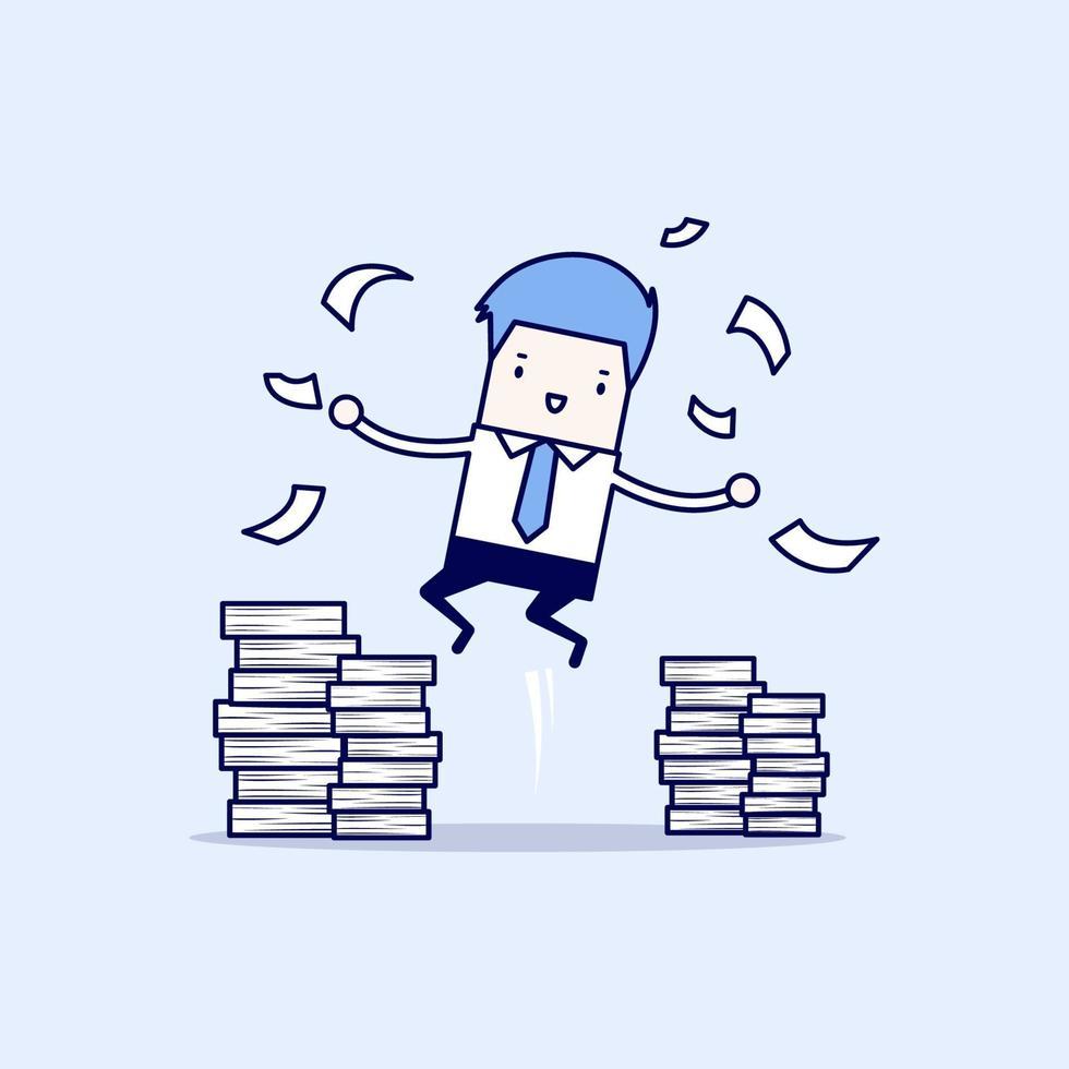 uomo d'affari felice che salta e una montagna di documenti. vettore di stile di linea sottile personaggio dei cartoni animati.
