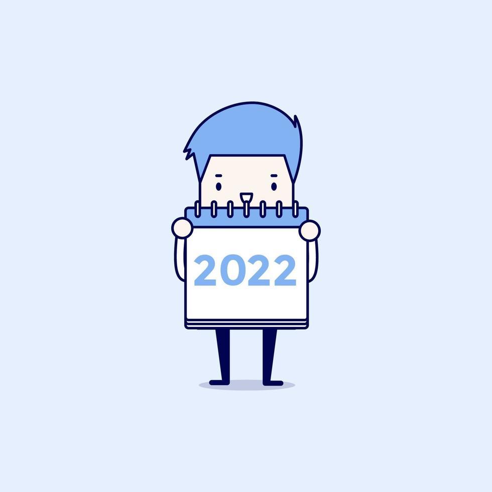 uomo d'affari tiene un calendario 2022 sulla sua mano. vettore di stile di linea sottile personaggio dei cartoni animati.