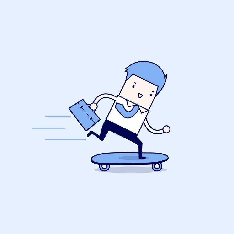 uomo d'affari su uno skateboard con valigetta. vettore di stile di linea sottile personaggio dei cartoni animati.