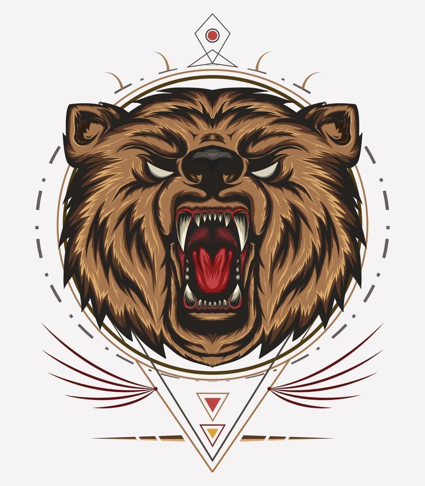 mascotte orso arrabbiato con ornamento vettore