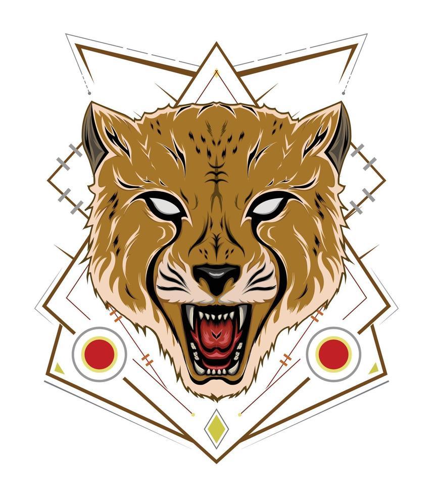 emblema di design ghepardo con ornamento vettore