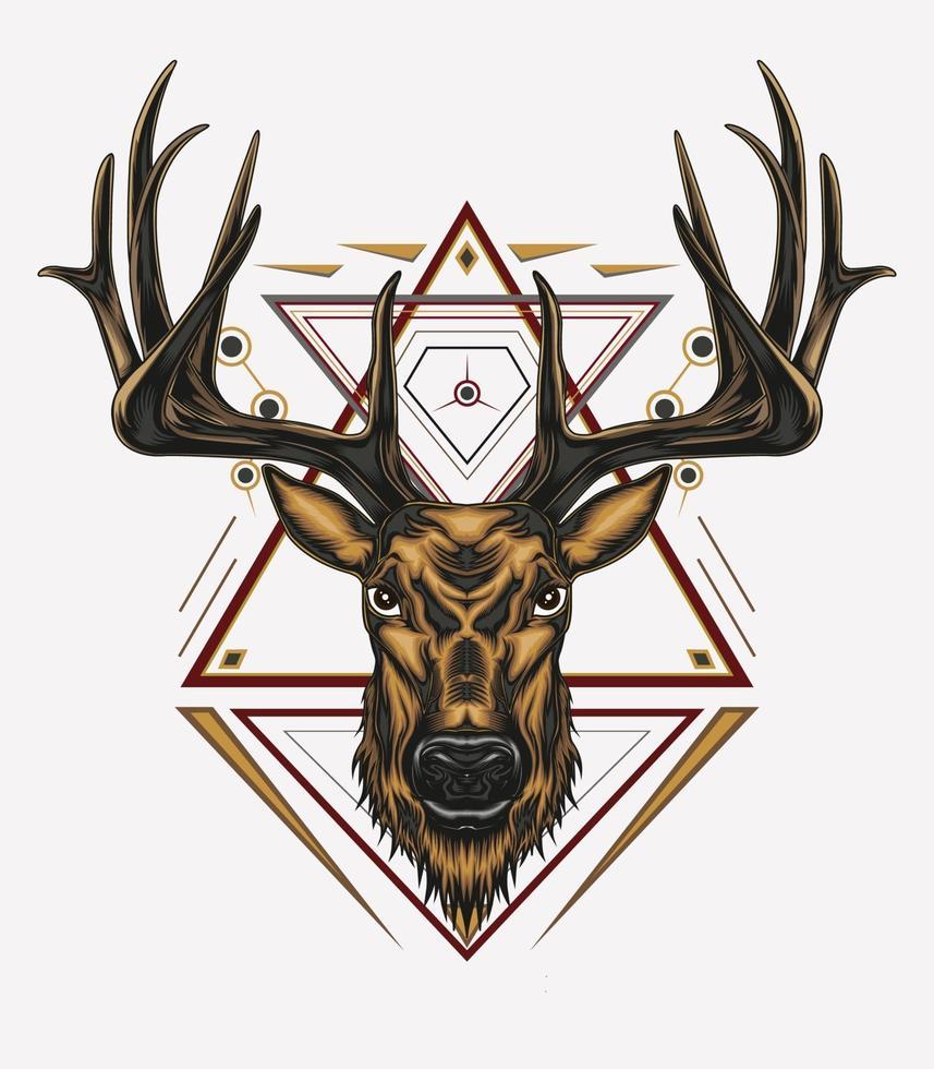 disegno di arte vettoriale cervo con ornamento
