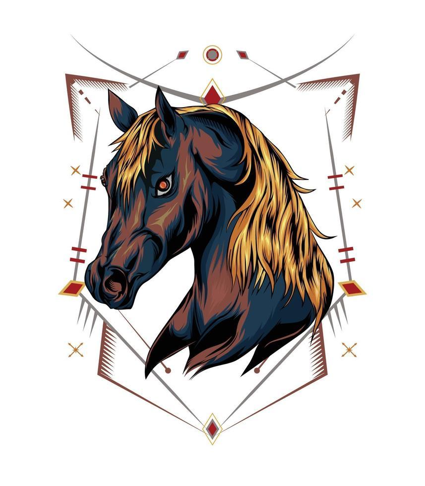 illustrazione vettoriale di una testa di cavallo con ornamento