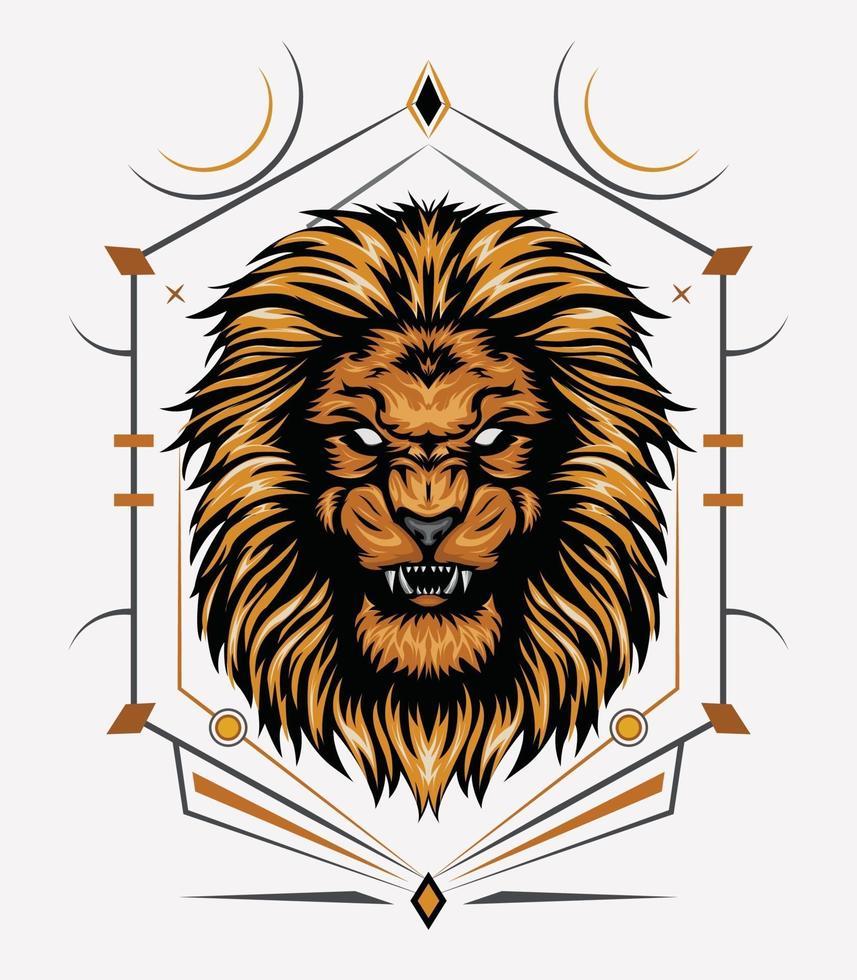 testa di leone con simbolo sacro vettore