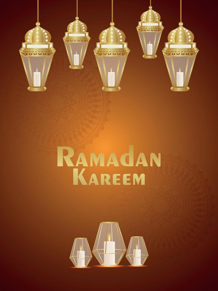 eid mubarak o ramadan kareem invito islamico bellissimo modello di design con lanterna araba creativa vettore