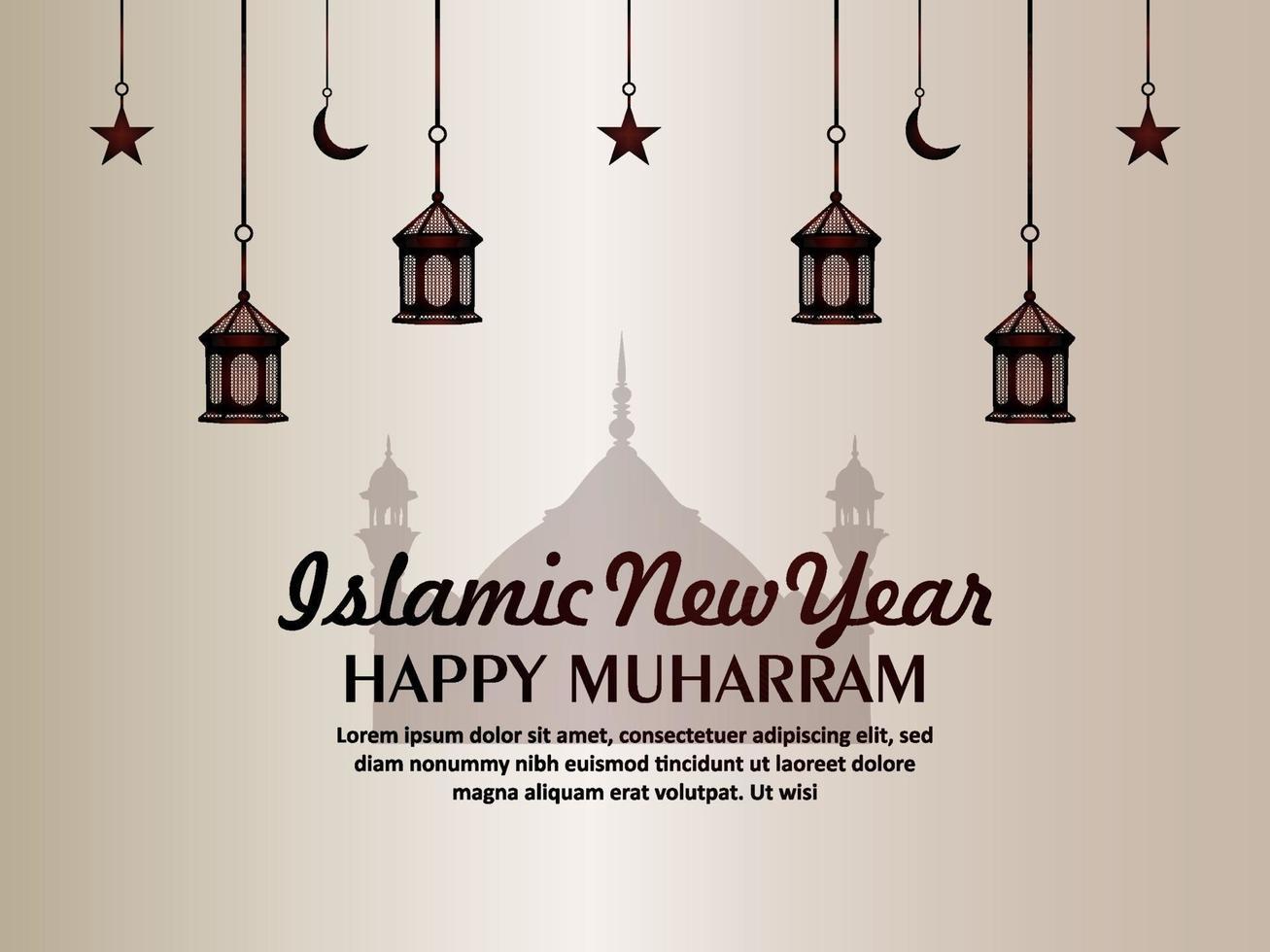biglietto di auguri di invito di muharram felice anno nuovo islamico piatto vettore