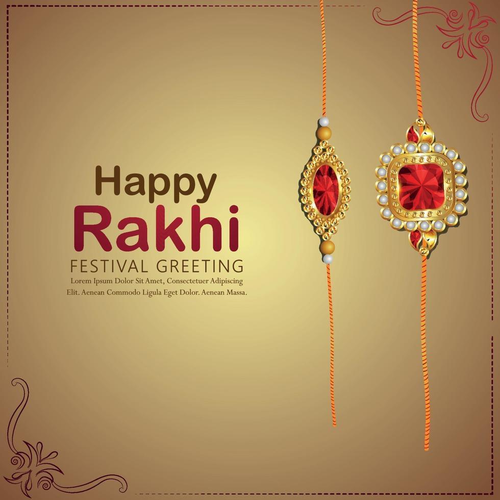 rakhi realistico del biglietto di auguri celebrazione felice raksha bandhan vettore