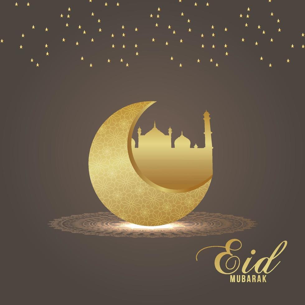 festival islamico della cartolina d'auguri di celebrazione di eid mubarak con la luna dorata su fondo creativo vettore