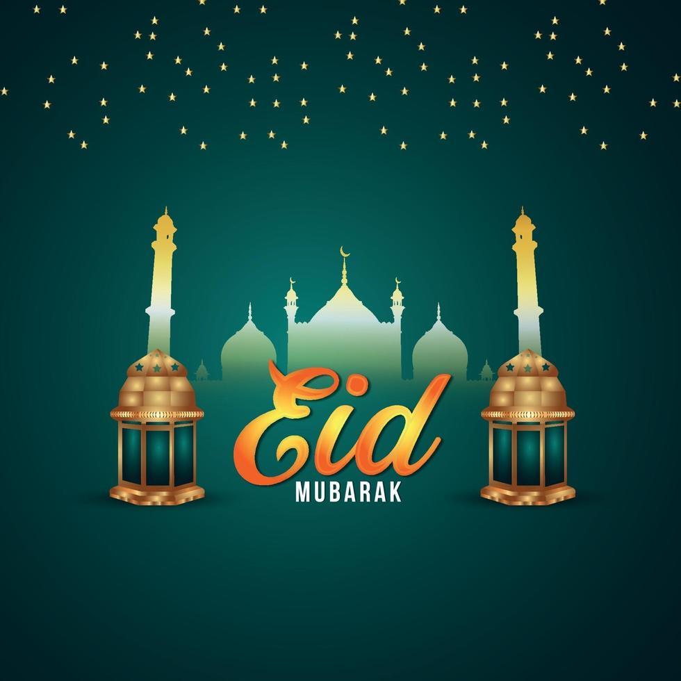 eid mubarak celebrazione del festival islamico illustrazione vettoriale con lanterna dorata e motivo