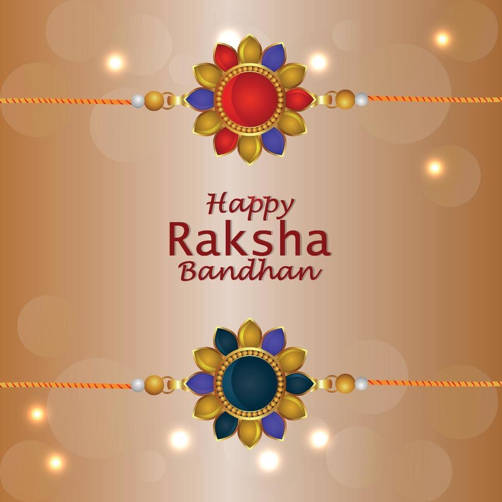 felice biglietto di auguri invito raksha bandhan con doni creativi vettore