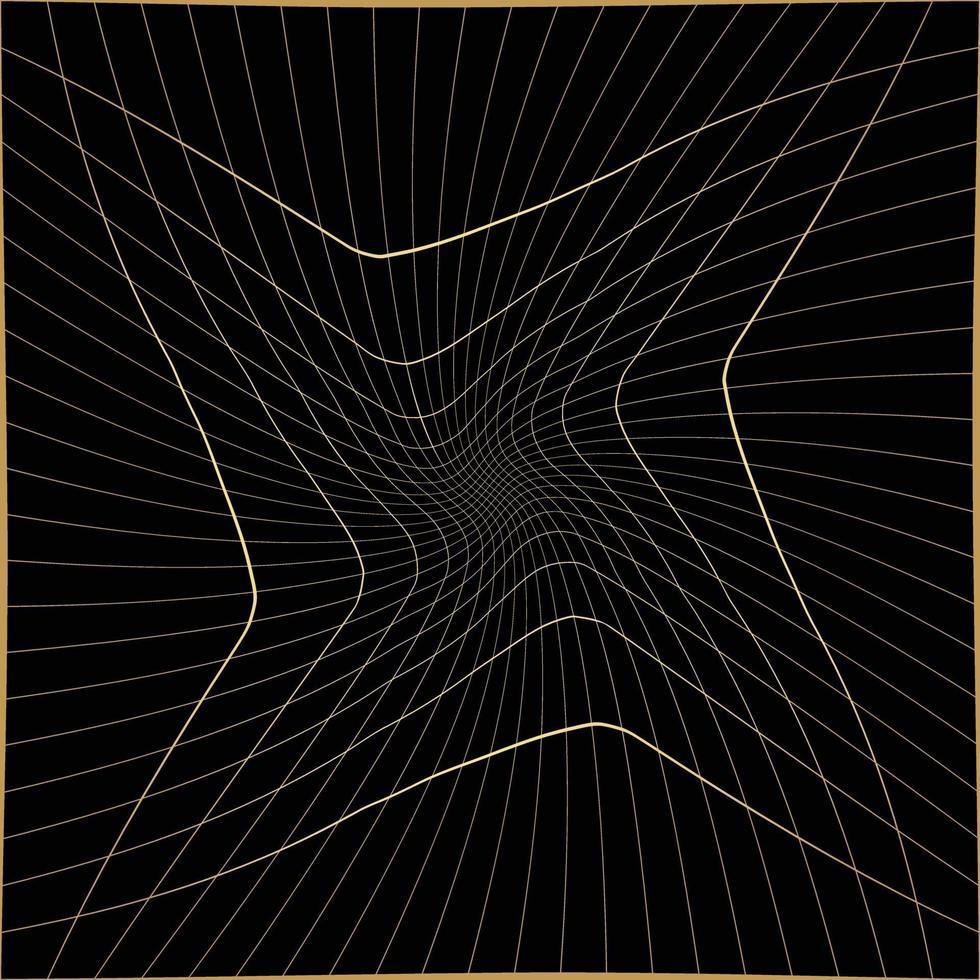 oro astratto e sfondo nero con linee diagonali. disegno del modello di linea vettoriale gradiente. grafica monocromatica.
