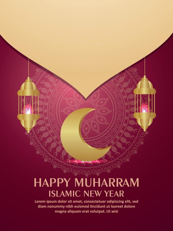 felice volantino festa di invito del nuovo anno islamico muharram con luna d'oro e lanterne vettore