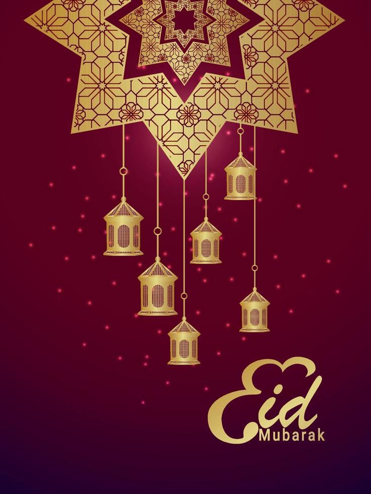 eid mubarak pattern di sfondo con lanterne creative vettore