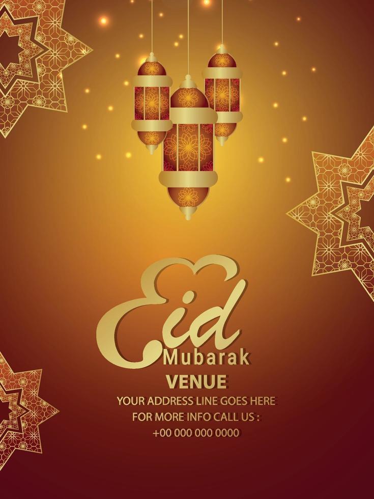 volantino festa eid mubarak realistico con motivo arabo e lanterne vettore