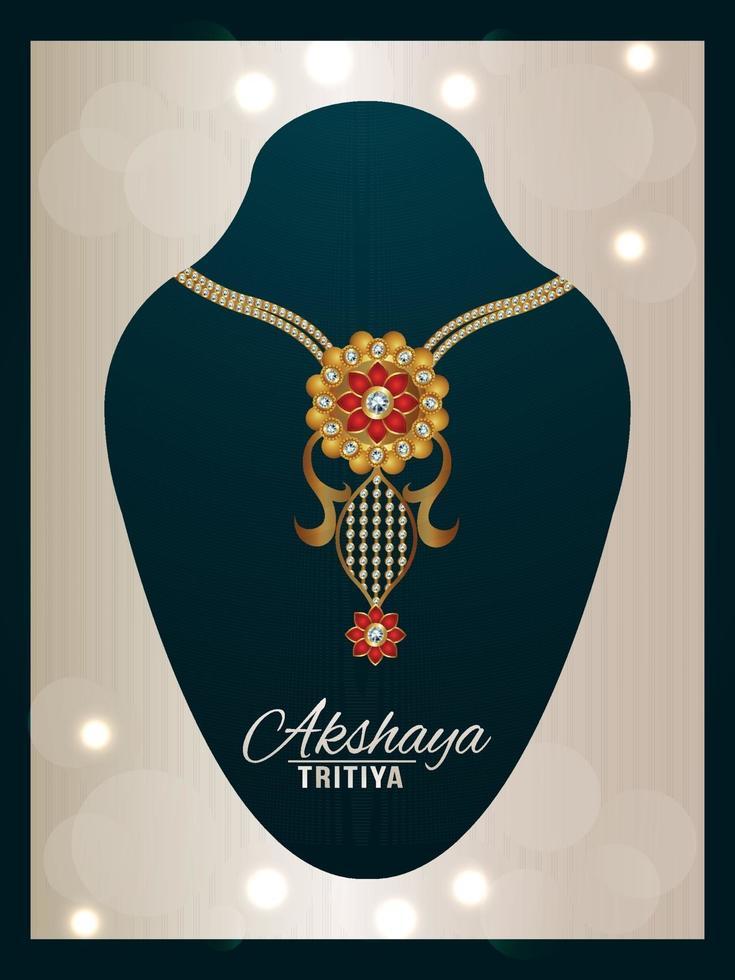 happy akshaya tritiya festival of india gioielli con collana d'oro vettore