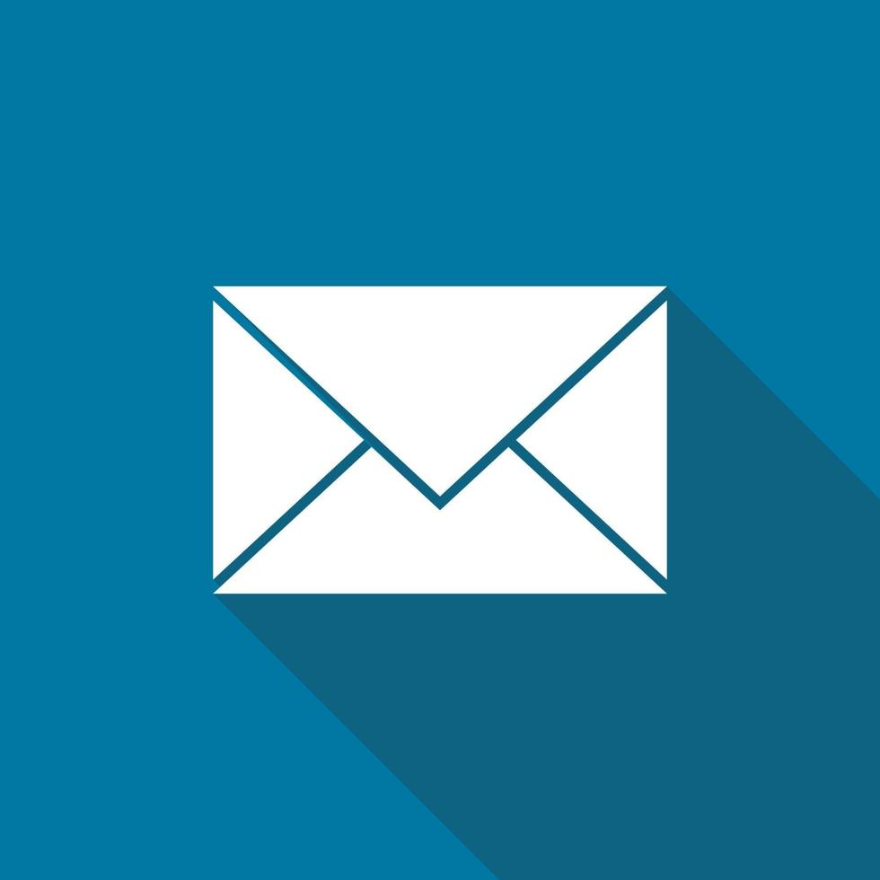 icona della posta con una lunga ombra vettore