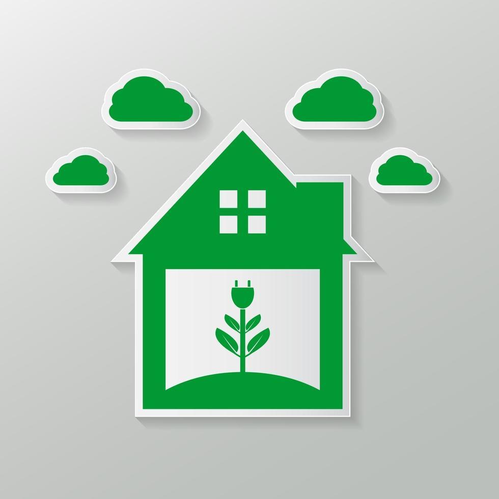 simbolo ecologico di una presa domestica verde o logo verde. vettore