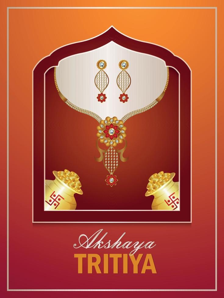 illustrazione vettoriale di akshaya tritiya volantino di promozione di vendita con monete d'oro e collana d'oro