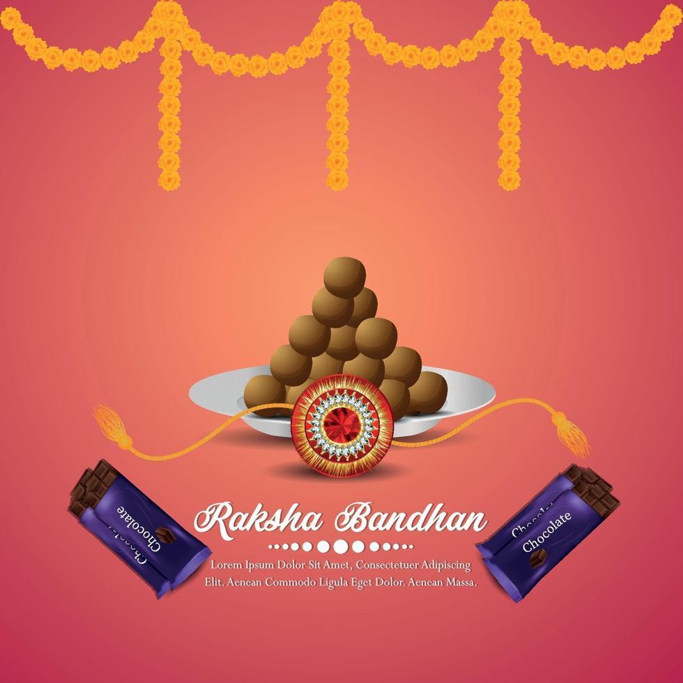 biglietto di auguri celebrazione felice raksha bandhan con illustrazione vettoriale creativo e cioccolatini