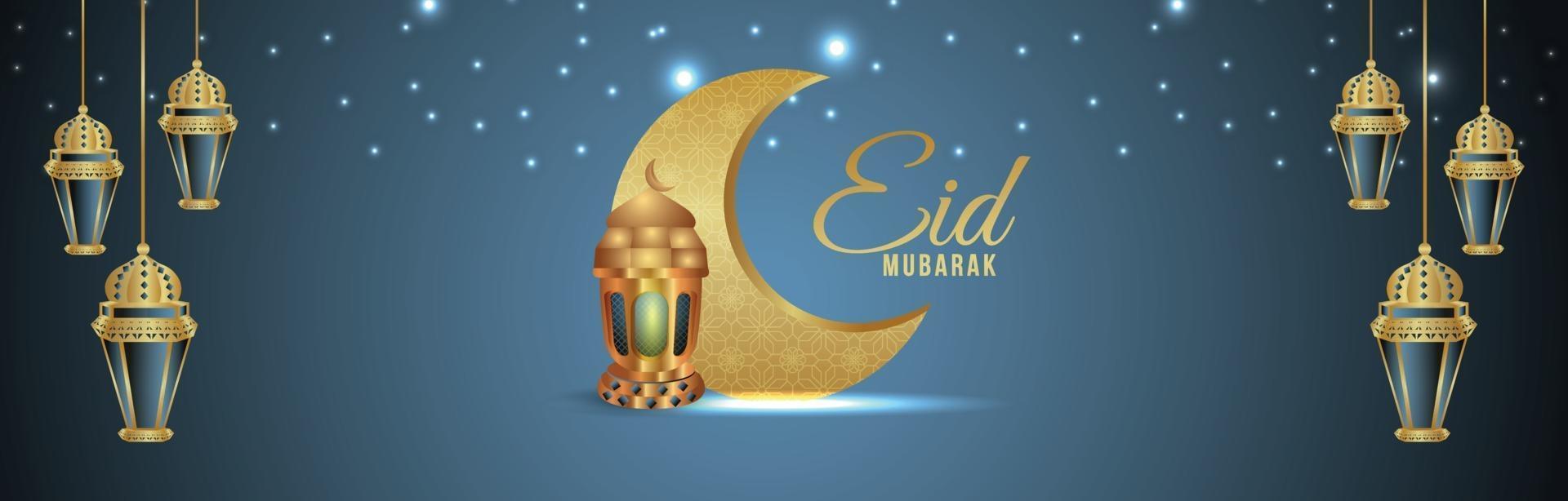 eid mubarak celebrazione biglietto di auguri con illustrazione vettoriale creativo