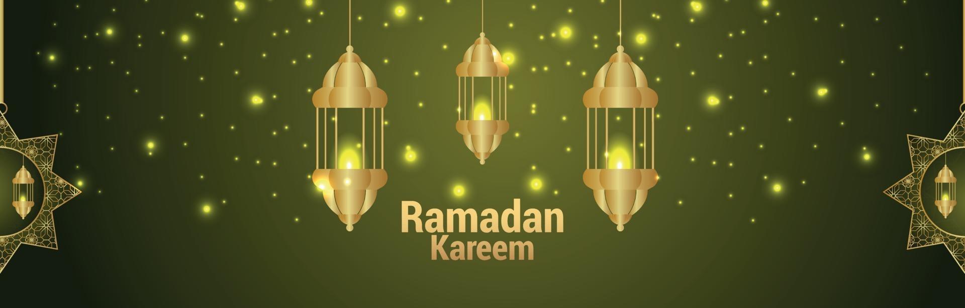 banner di invito festival islamico ramadan kareem con motivo luna e lanterna vettore