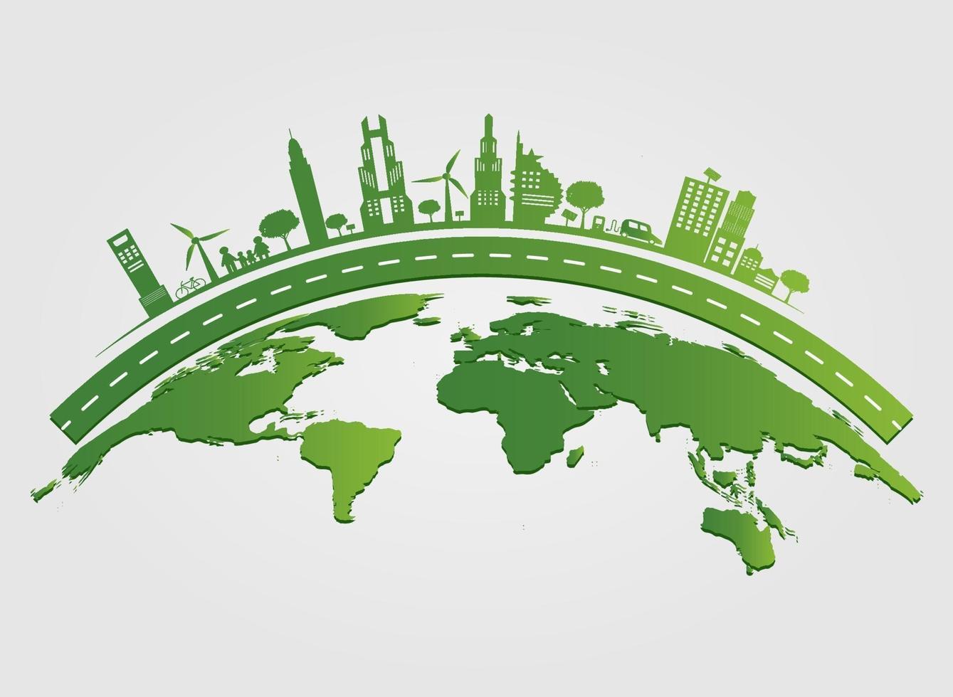 idee di concetto di città eco vettore