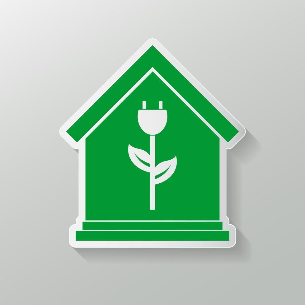 icona della casa eco. emblema o logo di ecologia domestica verde. illustrazione vettoriale