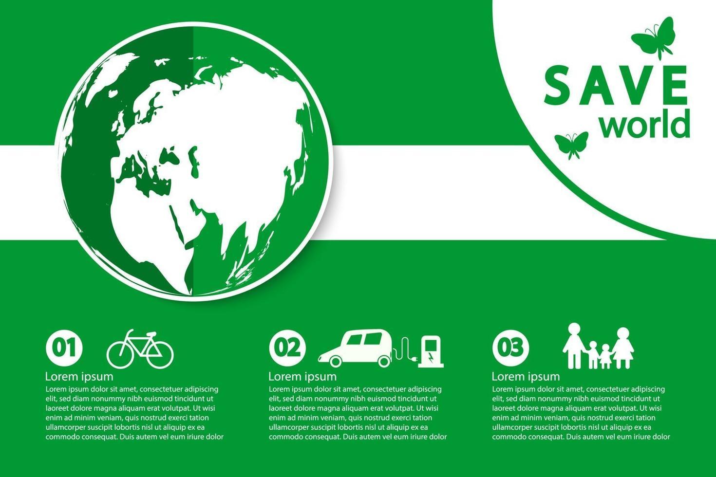 mondo con modello di banner concetto ecologico vettore
