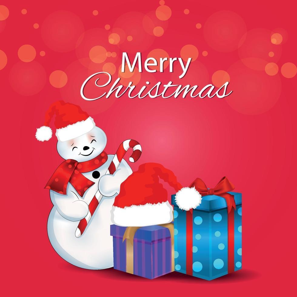 illustrazione vettoriale di buon Natale biglietto di auguri invito con doni creativi e palle di neve