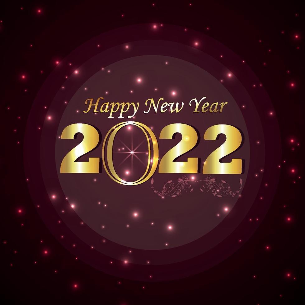felice anno nuovo celebrazione biglietto di auguri con effetto testo dorato su sfondo creativo vettore