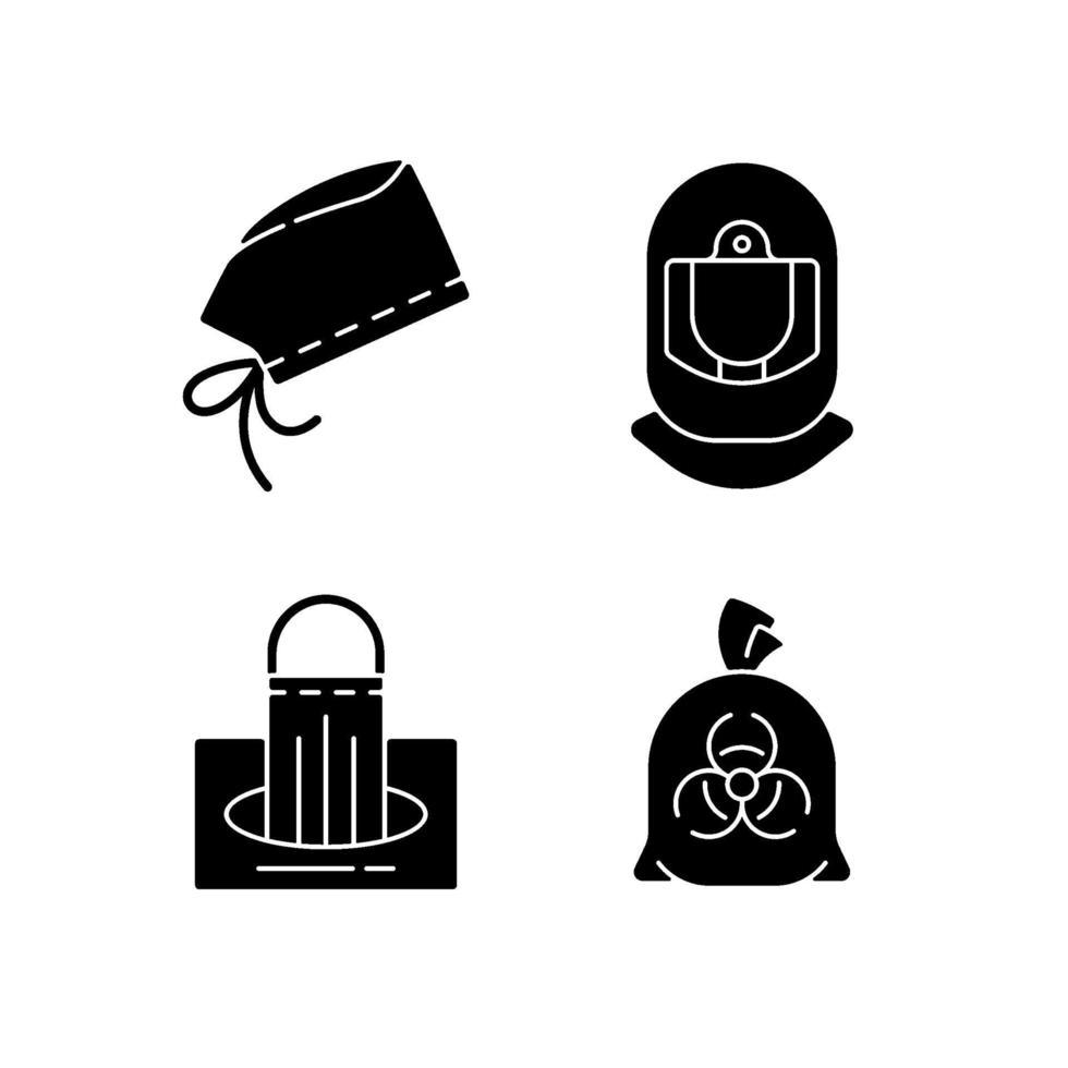dispositivi di protezione individuale icone glifo nero impostato su uno spazio bianco vettore