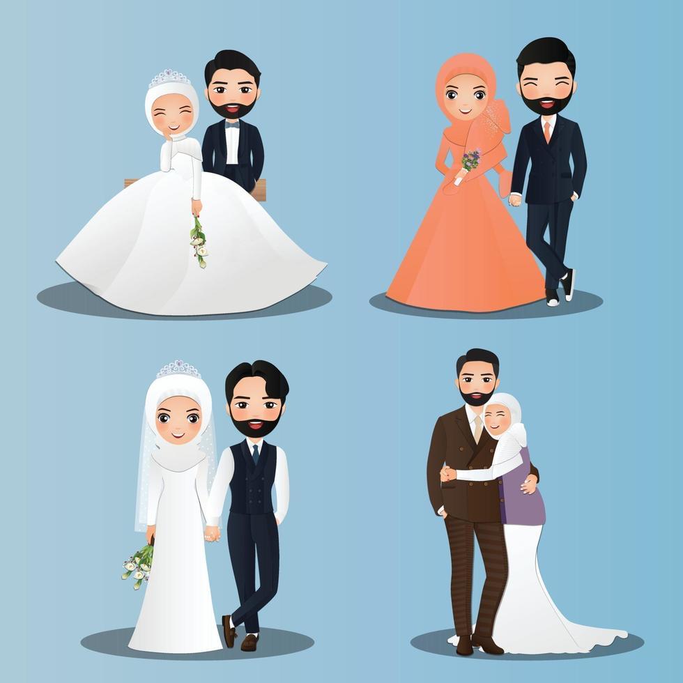 set di caratteri carino musulmano sposa e sposo. carta di inviti di nozze. giovane coppia innamorata vettore