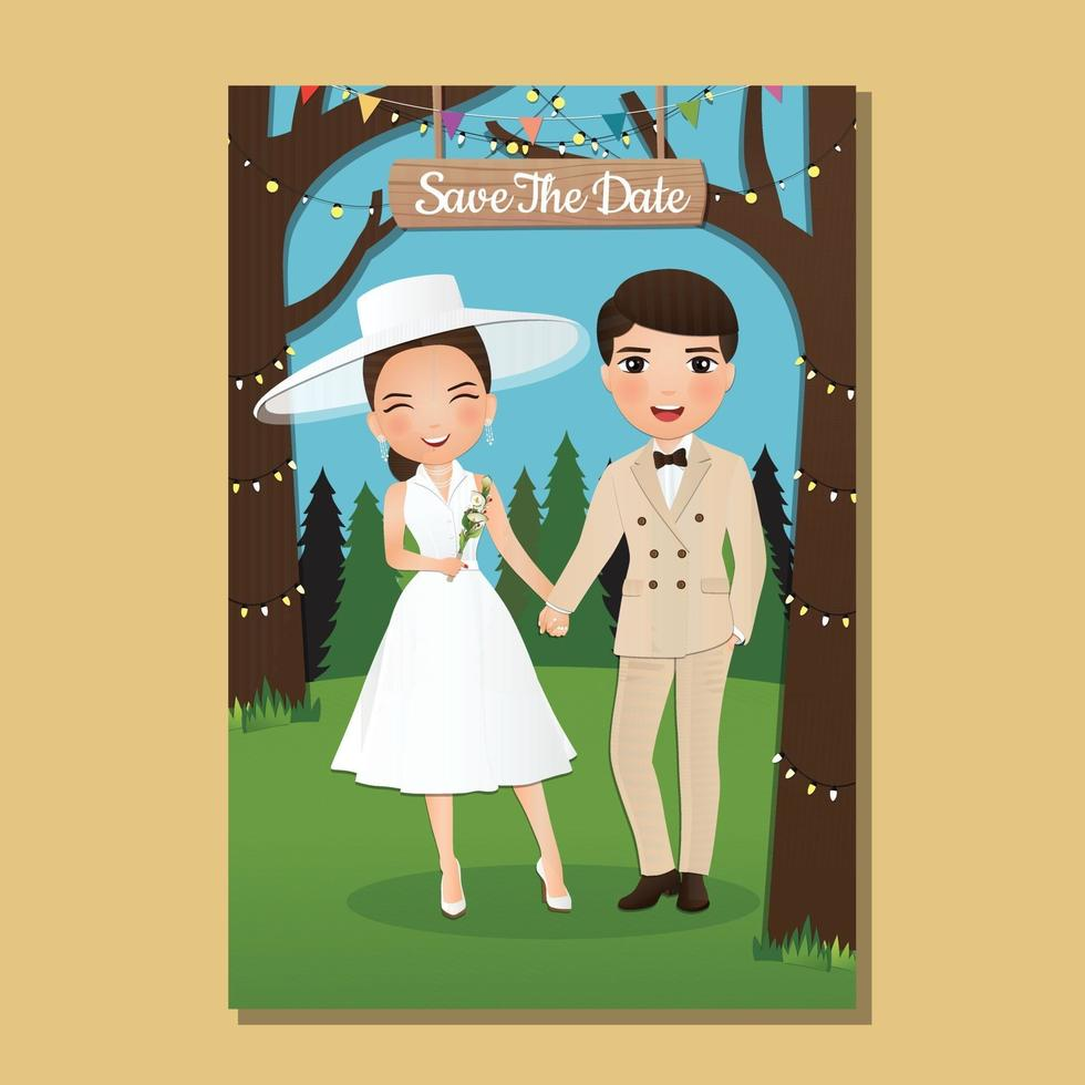 carta di invito a nozze la sposa e lo sposo simpatico cartone animato coppia con paesaggio bellissimo sfondo vettore