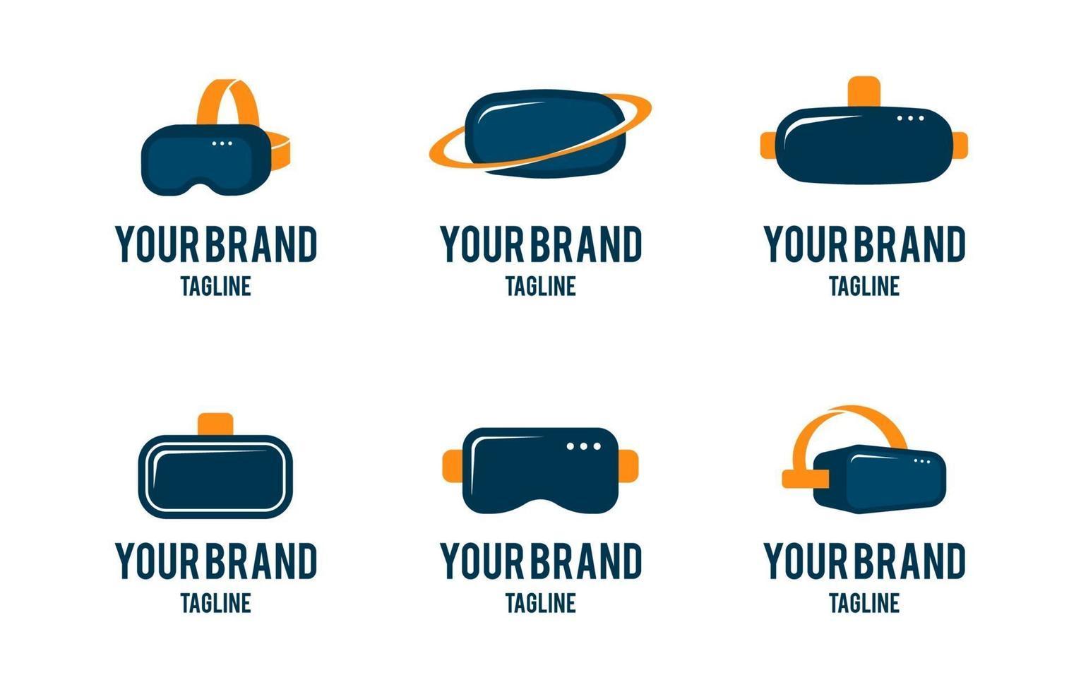 collezione di logo di realtà virtuale vr vettore
