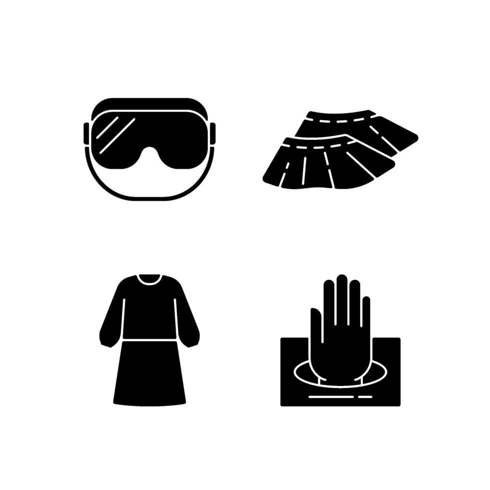 monouso abbigliamento medico nero glifo icone impostate su uno spazio bianco vettore