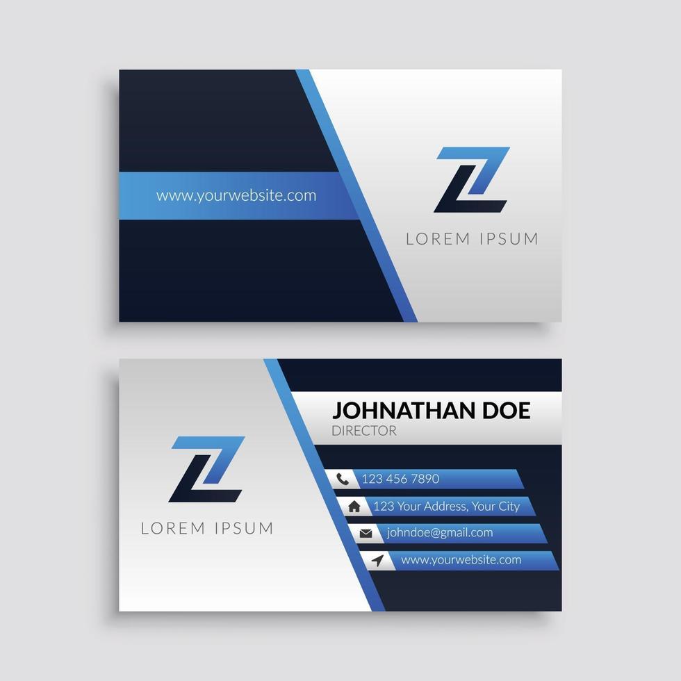 modello di biglietto da visita aziendale blu moderno vettore