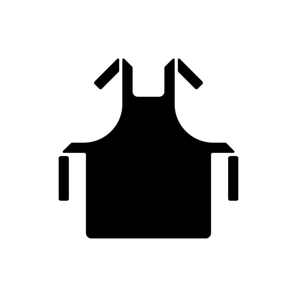 icona del glifo con grembiule medico nero vettore