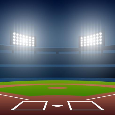 Campo di baseball di notte con l'illustrazione luminosa di vettore dello stadio