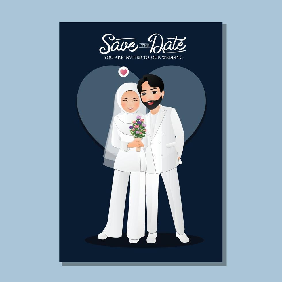 cartone animato romantico giovane coppia musulmana innamorato su priorità bassa del cuore vettore