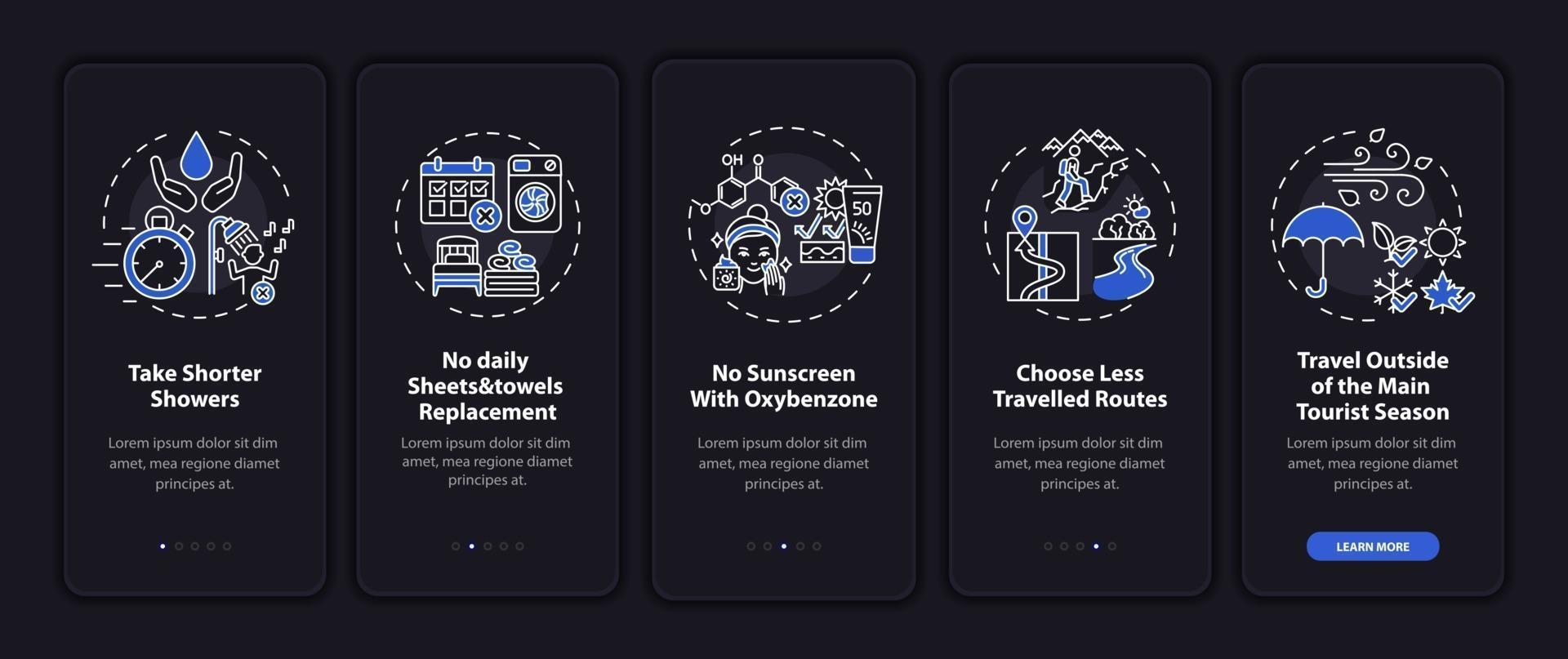 idee di turismo sostenibile onboarding schermata della pagina dell'app mobile con concetti vettore