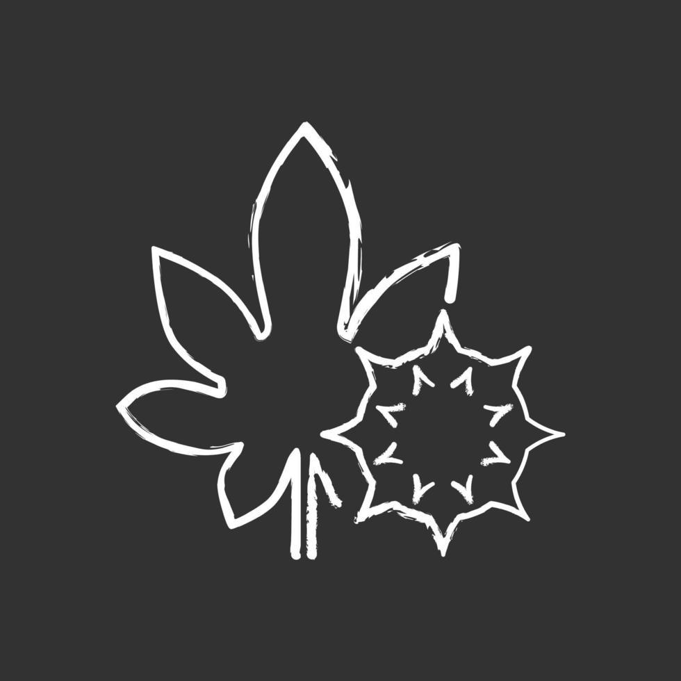 icona di gesso bianco di ricino su sfondo nero vettore