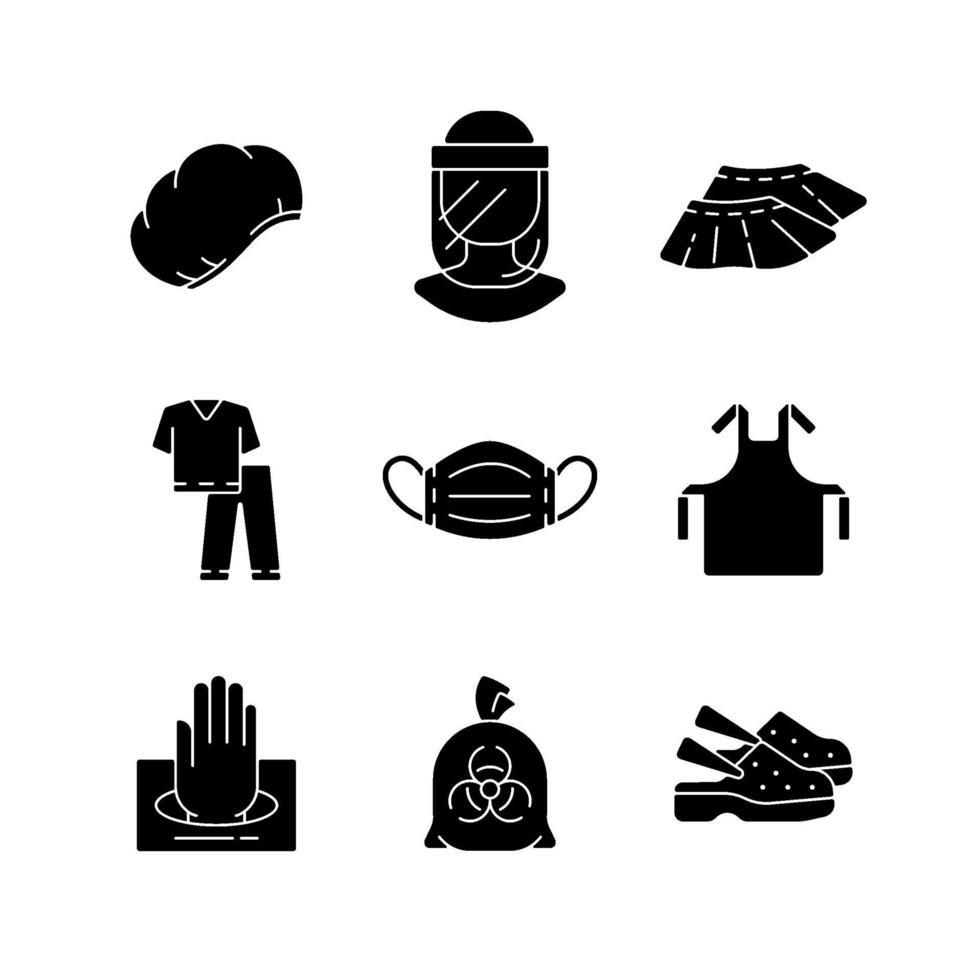 monouso medico uniforme nero glifo icone impostate su uno spazio bianco vettore