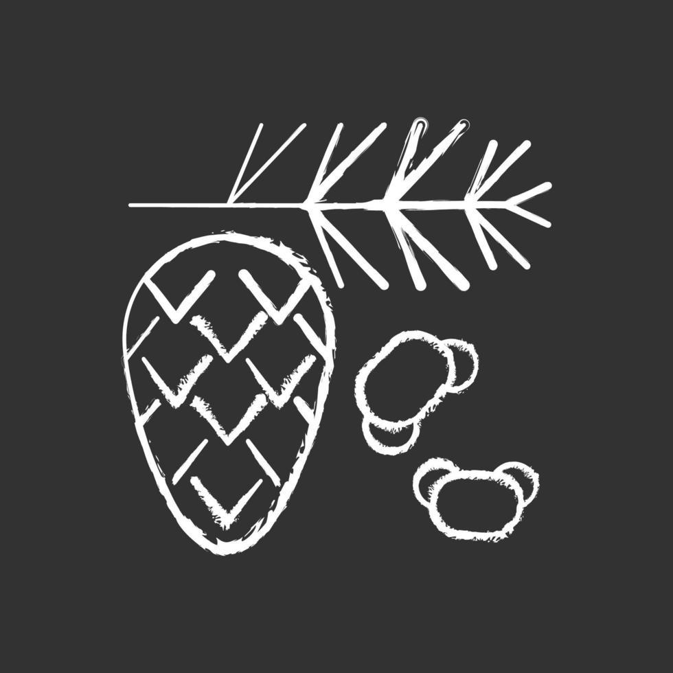 cedro e pino polline gesso icona bianca su sfondo nero vettore